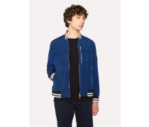 Blue Cotton-Blend Patch-Pocket Bomber Jacket