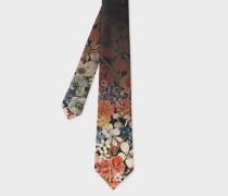 Faded Floral Print Silk Tie