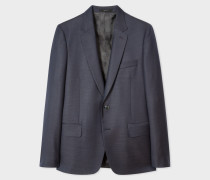 Tailored-Fit Navy Two-Tone Textured Wool Blazer