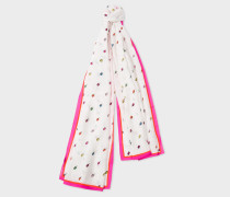 White 'Ice Lolly' Print Scarf