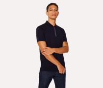 Dark Navy Cotton-Piqué 'Cycle Stripe' Zip Polo Shirt