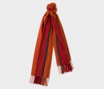 Brick Red Stripe Wool Scarf