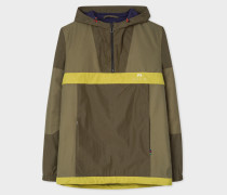 Khaki And Green Showerproof Anorak With Contrast Panels