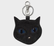 Black 'Cat Face' Calf Hair Keyring