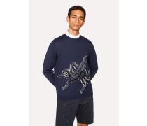 Navy Merino Wool 'Octopus' Intarsia Sweater
