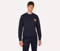 Navy Organic-Cotton Embroidered Zebra Sweatshirt