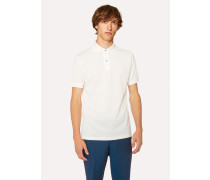 Slim-Fit White Cotton-Piqué Polo Shirt With Charm Buttons