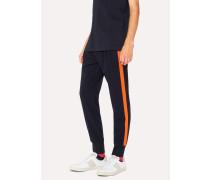 Dark Navy Wool-Blend Trousers With Orange Stripe Detail