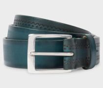 Teal Embossed Pattern Leather Belt