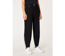 Black Wool-Cotton Climbing Trousers With Belt Detail