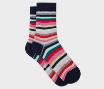 Navy And Glitter 'Swirl Stripe' Socks