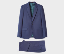 The Soho - Tailored-Fit Navy Three-Piece Puppytooth Wool Suit