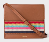 Tan Leather Cross-Body Bag With Multi-Coloured Stripe Embroidered Detail