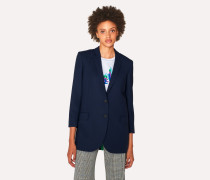 Boyfriend-Fit Navy Wool-Hopsack Blazer