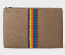 Taupe 'Bright Stripe' Leather Document Pouch