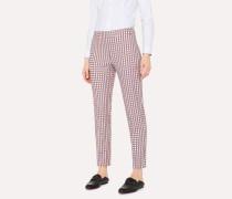 Slim-Fit White Cotton-Stretch Check Trouser