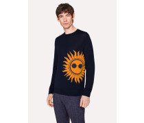 Navy Merino Wool Sweater With 'Sun' Intarsia
