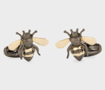 Gold And Silver 'Bee' Cufflinks