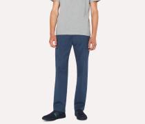 Standard-Fit Dark Blue Cotton-Twill Stretch Chinos