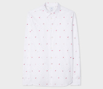Slim-Fit White 'Apple' Embroidery Cotton Shirt
