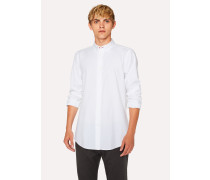 Tailored-Fit White Button-Down Cotton Shirt With Contrast Cuff Lining