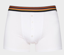 White Four-Button Boxer Briefs With 'Artist Stripe' Waistband