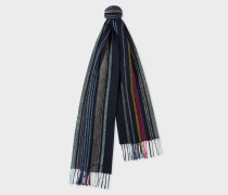 Navy Multi-Coloured Stripe Lambswool Scarf