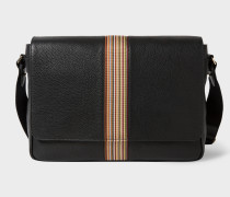Black Leather Signature Stripe Messenger Bag