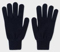 Dark Navy Cashmere And Merino Wool Gloves