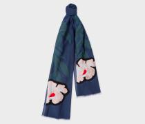 Slate Blue 'Floral Stem' Silk-Blend Scarf