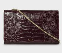 Burgundy Mock-Croc Leather Clutch Bag