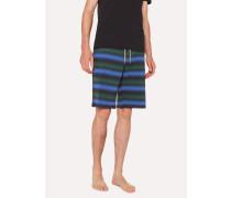Black Stripe Jersey Cotton Lounge Shorts