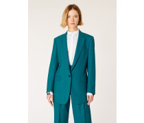 Teal Houndstooth And Check One-Button Wool Boyfriend-Fit Blazer