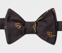 Black Embroidered 'Sunglasses' Motif Self-Tie Silk Bow Tie