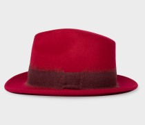 Red Mohair-Band Wool Trilby Hat
