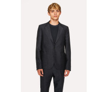 Mid-Fit Dark Navy Textured-Check Wool-Blend Unlined Blazer