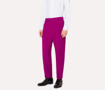Tapered-Fit Purple Pleated Wool Trousers
