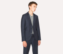 Mid-Fit Navy Checkerboard-Cross Jacquard Blazer