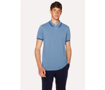 Slim-Fit Light Blue Zebra Polo Shirt With Navy Tipping