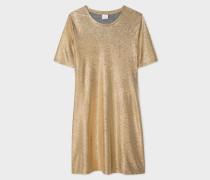 Gold-Foil Textured T-Shirt Dress