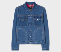 Mid-Wash Pleat-Front Lined Denim Jacket