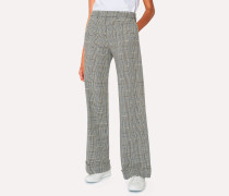 Black And White Check Cotton Wide Leg Trousers