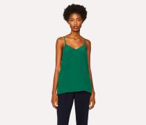 Green Silk-Blend Cami Top