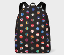 'Cycle Dot' Print Canvas Backpack