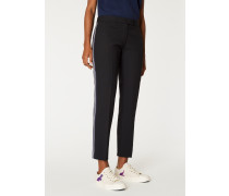 Slim-Fit Black Side-Stripe Wool Trousers
