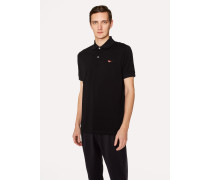 Slim-Fit Black Cotton-Piqué Polo Shirt With Embroidered 'Sunglasses'