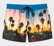Blue 'Sunset Photo' Print Swim Shorts
