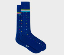 Cobalt Blue Diamond Dot Socks