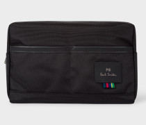 Black Canvas Wash Bag With 'Cycle Stripe' Detail