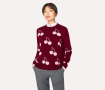 Burgundy Wool 'Cherry' Intarsia Sweater